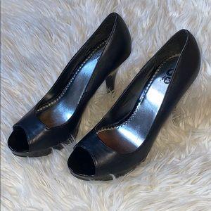 SO black peep toe heels